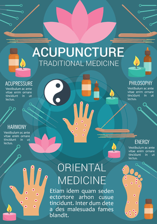 Acupuncture medicine poster for traditional Asian treatment. Vector design of acupuncture needles on hand and foot sensory points, aromatherapy oil candles or lotus and Yin Yang symbol