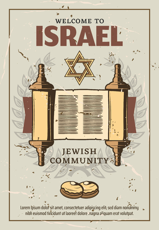 Welcome to Israel retro poster for Jewish community or religious travel. Vector vintage design of holy Torah manuscript roll, David star Magen and Judaism religion Sufganiyot