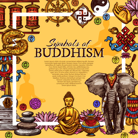 Buddhism religious symbols poster. Vector sketch design of golden Buddha monk statue in Zen meditation, Yin Yang sign on white elephant and lotus flowers with stupa shrine for Buddhist worship Illustration
