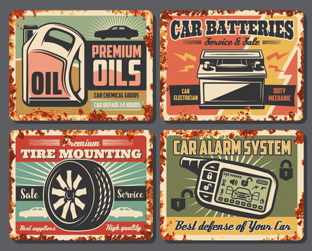 Car service and auto garage repair station posters with rust effect. Vector vintage design for premium engine oils change and battery mechanic and tire pumping or car alarm installation Illustration