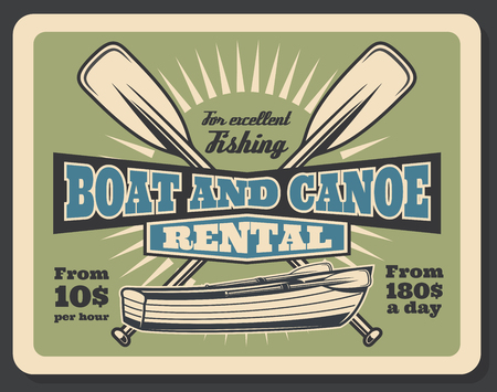 Fishing equipment rental advertisement poster with fisher boat or canoe. Vector vintage design of wooden boat with paddles and price for fisherman sport trip or fish catch adventure Illustration