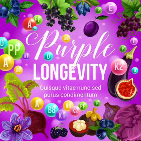 Purple diet for longevity, healthy eating and natural nutrition program. Vector poster of vitamins and minerals in purple organic tropical fruits, berries or vegetables Foto de archivo - 106956163
