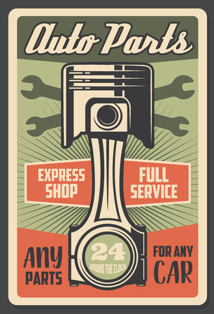 Car service and auto spare parts shop retro advertisement poster. Vector vintage design of engine valve and garage station mechanic wrench tools for 24 7 service 일러스트