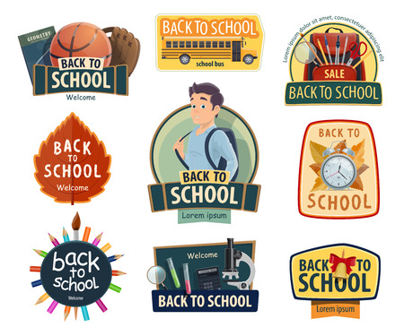 Back to School posters or icons for autumn education season promo sale store design. Vector college student boy with school bag and stationery or lesson books and bus or sport rugby ball