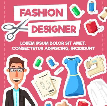 Fashion designer profession poster. Vector cartoon dressmaker or tailor man in glasses and suit with sewing machine, scissors or dress with thread and needles for fashion tailoring Foto de archivo - 111770346