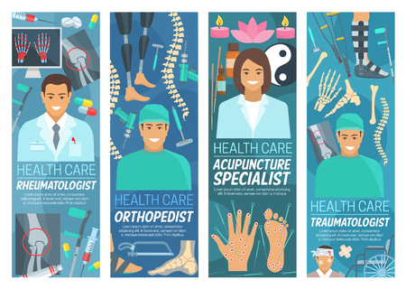 Rheumatology, traumatology and orthopedics or acupuncture medicine banners. Vector rheumatologist, orthopedist, and traumatologist doctors, Asian traditional needle treatment and clinic equipment Stock Illustratie