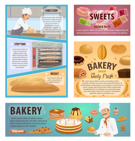 Bakery or baker shop and patisserie baking process. Vector posters of baker profession with bread and pastry, wheat and rye dough, dessert cakes and biscuit cookies