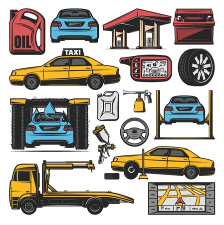 Car service icons for gasoline station, tire pumping or tow truck and auto wash. Vector isolated car alarm, accumulator battery or painting sprayer and transport traffic navigator Illustration