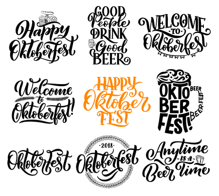 Oktoberfest lettering calligraphy for traditional Bavarian beer festival. Vector design of beer glass or pint mug with froth and pretzel ir curry wurst sausage snack for Munich brewery feast