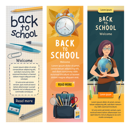 Back to School banners for education season. Vector welcome design of geography teacher woman with globe at class room blackboard with stationery and books in school bag