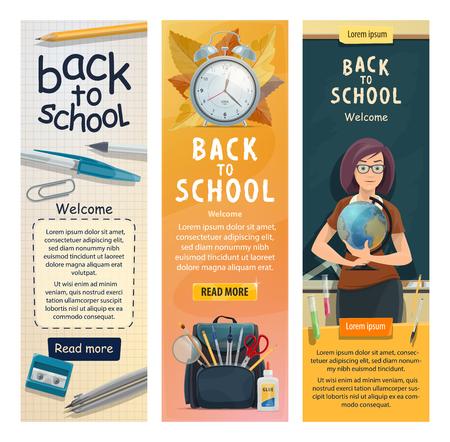 Banners de regreso a la escuela para la temporada educativa. Diseño de bienvenida de vector de mujer profesora de geografía con globo en pizarra de sala de clase con papelería y libros en mochila escolar