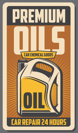 Car engine premium oils advertisement retro poster. Vector vintage design for automobile transport service or mechanic garage station for oil and chemical liquids replacement