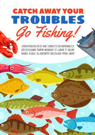 Poster di avventura di viaggio di pesca per tour hobby di pescatori Disegno vettoriale di pescatore pescato nel secchio di passera di mare, granchio di aragosta o calamari, pesce persico o luccio e salmone con carpa