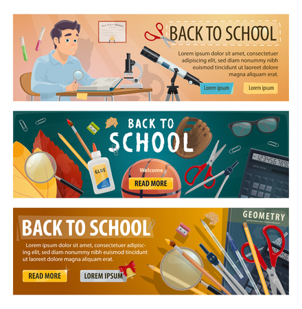 Back to School and autumn education season banners for September sale. Vector student boy in classroom for astronomy or geometry lesson with microscope, telescope or stationery on blackboard