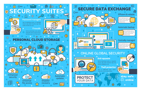 Internet security and personal cloud storage web protection. Vector poster of online secure technology for private data access and exchange in computer and smartphone networks Illustration