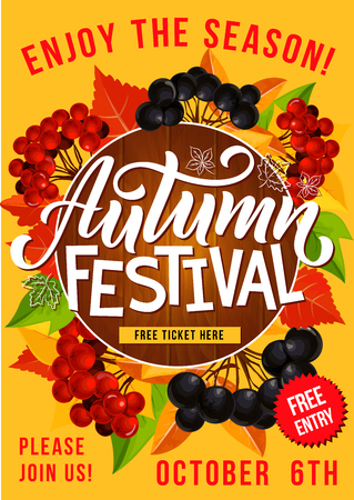 Autumn festival or seasonal holiday celebration invitation poster. Vector design for fall traditional fest with autumn maple leaf and rowan berry harvest in wooden frame
