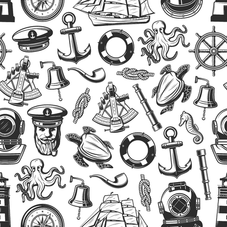 Nautical seamless pattern with marine and seafarer symbols. Vector background of sailor equipment, captain hat or smoking pipe and lighthouse, ship helm with anchor or spyglass and sextant
