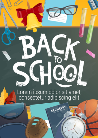 Back to School poster or books and stationery on chalkboard with lesson bell, chemistry tests and geometry compass. Vector back to school chalk on blackboard for education store autumn promo sale Banque d'images - 111770361