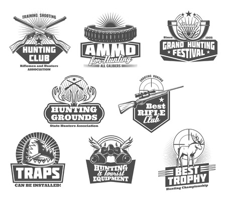 Hunting club badges of hunter equipment and wild animals traps. Vector icons of hunt open season horn, elk antlers trophy in binoculars and bullet magazine for tourist adventure trips