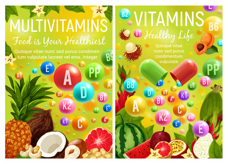 Healthy fruits and nuts with vitamins for healthy nutrition and pharmacy multivitamin complex advertisement design, Vector vitamin pills with tropical pineapple, watermelon or avocado and citrus Vettoriali