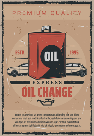 Car engine change or replacement express service advertisement for mechanic garage station. Vector vintage design for transport or automobile repair and maintenance Illustration