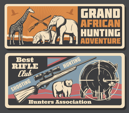 Grand African hunting adventure poster for Safari hunt open season or hunter club association. Vector savanna wild animals elephant, hippopotamus and giraffe, rifle gun for bear or hog trophy prey