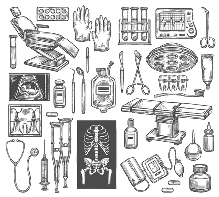 Medical surgery or therapy equipment sketch icons. Vector isolated dentist chair, surgeon operating table or traumatology X-ray, rheumatology crutch or cardiology cardiogram and gynecology ultrasound