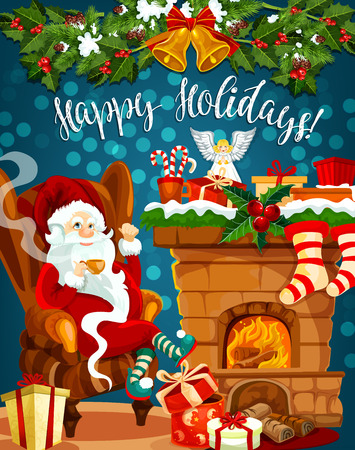 Santa Claus and Christmas fireplace with gift stocking for New Year greeting card. Santa with present and fireplace, decorated by holly berry and Xmas tree garland, bell, ribbon bow, sock and candy Illustration