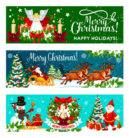 Christmas holiday banner for New Year greeting card. Santa Claus and snowman with gift bag and Xmas tree, holly berry wreath with Christmas angel, candle and bow, snow and ribbon banner with greetings