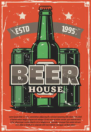 Beer brewery house retro poster of craft or lager beer in bottles and cans. Vector vintage design with premium quality stars on ribbon for draught beer bar or Oktoberfest pub