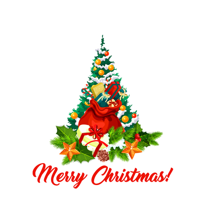 Merry Christmas wish lettering and Xmas tree in ornaments and decorations. Vector isolated icon of Santa gifts bag and holly wreath for New Year or Christmas winter holiday season greeting card