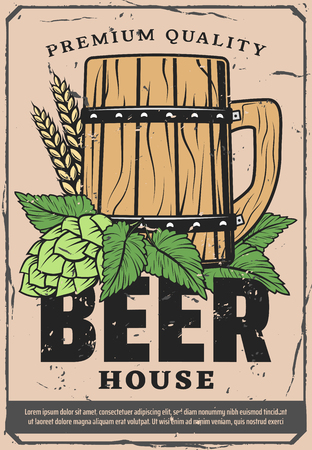 Beer house retro design poster for brewery bar or Oktoberfest pub. Vector premium quality vintage wooden mug of ale or craft beer pint with wheat and hop or malt leaf
