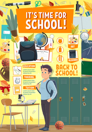 Back to School education season poster with student boy and school stationery or sport locker room. Vector college or university design of geometry, algebra or mathematic lesson books and alarm clock