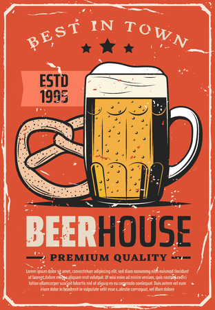 Beer house or brewery bar best in town advertisement retro poster. Vector red vintage design of craft or draught beer in glass mug with froth and pretzel bread snack with premium quality stars Ilustrace