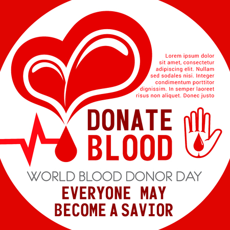 Donate Blood poster of heart and helping hand for Donor Day or social volunteering. Vector blood drop and heartbeat pulse design for 14 June charity action event of World Donation day Illustration