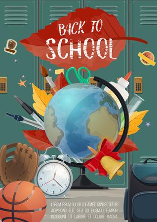Cartel de regreso a la escuela con letras de tiza sobre fondo de hoja y casillero de otoño. Educación de vectores y material de estudio con libros, globo, pelota de entrenamiento deportivo de baloncesto y reloj despertador para la temporada de venta