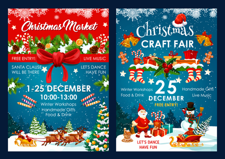 Christmas fair poster design of Santa and snowman in sleigh with New Year gifts bag. Vector Christmas winter holiday event invitation of holly ornament on blue snow and red ribbon background Vettoriali