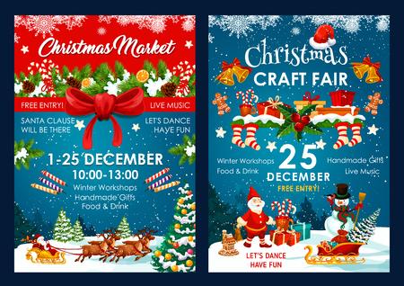 Weihnachtsmarktplakatdesign von Sankt und Schneemann im Schlitten mit Geschenktüte des neuen Jahres. Vektor-Weihnachtswinterurlaub-Ereigniseinladung von Holly Ornament auf blauem Schnee und rotem Bandhintergrund
