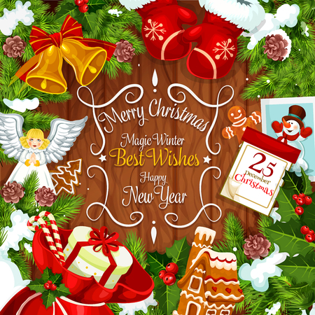 Christmas wreath greeting card with New Year holiday gift on wooden background. Xmas bell, calendar and Santa gift bag with present, candy and cookie, holly and fir branch, snowflake, ribbon and glove