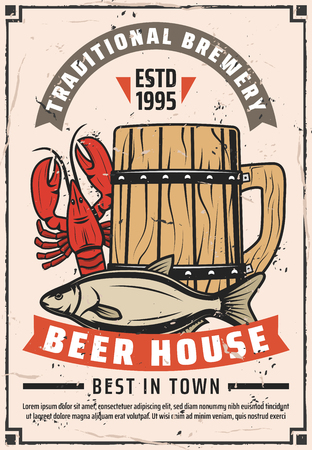 Beer house or brewery bar retro poster. Vector vintage advertisement design of craft draught beer in wooden mug with lobster crab or dry fish snacks, premium quality stars and ribbons 일러스트