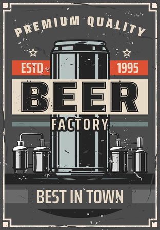 Beer brewing factory retro poster for bar or pub. Vector vintage design of brewery barrel cask and beer can with craft or draught pint of ale production line technology Illustration