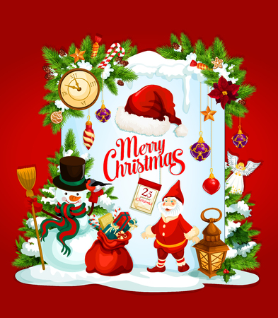 Christmas greeting card with Santa Claus and New Year gift. Snowman, Santa and presents winter holidays festive banner with Xmas tree garland, red hat and snowflake, calendar, candy, ball and star