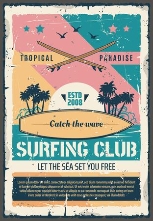 Retro-Plakat des Surfclubs für sommerliches tropisches Paradiesabenteuer. Vektorweinleseentwurf der Palmeninsel am Ozeanstrand mit Meereswellen für Surfbrett-Surfer Vektorgrafik