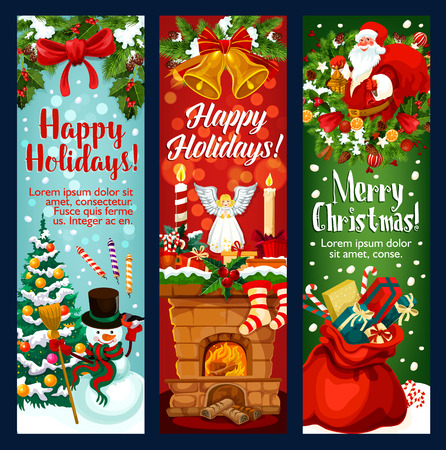 Christmas and New Year holiday banner with Xmas characters. Santa Claus, snowman and gift greeting card with Xmas tree and holly berry wreath, bell, ribbon bow and snowflake, present, candy and sock Illusztráció