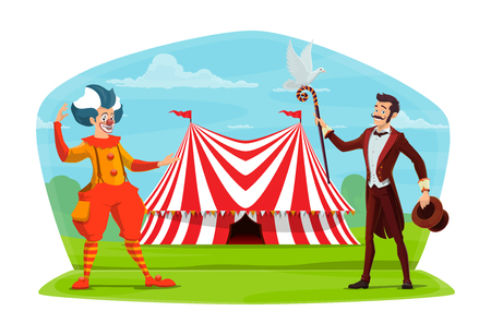 Circus marquee tent and clown with illusionist poster. Vector cartoon design of magic show characters clown in wig and consume and conjurer with hat and stick inviting to circus