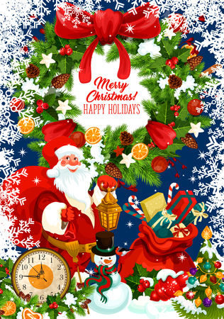 Santa Claus with gift and Xmas wreath greeting card of winter holiday design. Santa, snowman and New Year present poster, framed by snowflake, holly and fir branch, ribbon bow, star and midnight clock