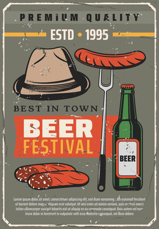 Beer festival retro poster for traditional Oktoberfest or Bavarian brewery house. Vector vintage design of man hat, curry wurst sausages and craft or lager beer bottle for premium quality pub or bar Stock Vector - 111531498