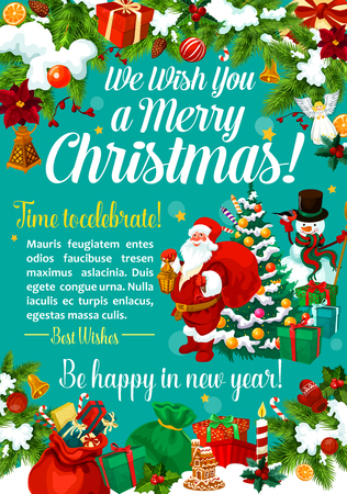 Christmas and New Year winter holiday celebration greeting card. Xmas tree, Santa and snowman banner with holly and present garland frame, bow, bell and candle, snowflake and star for Xmas design Illustration