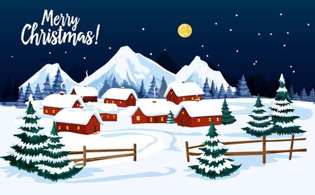 Weihnachtswinterlandschaft mit Dorfhaus und Weihnachtsbaumgrußkarte. Neujahrsfeiertagsnachtszene der Landstraße mit Haus und Häuschen im Schnee für festliches Weihnachtsplakatdesign