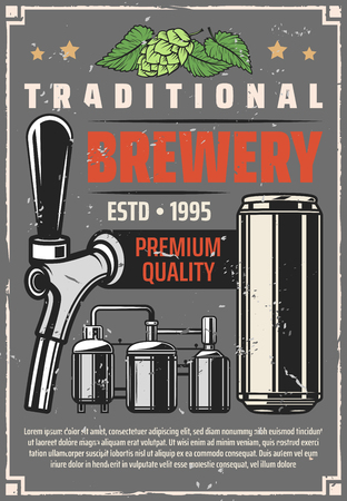 Beer brewing factory or traditional brewing production line retro poster. Vector vintage design of barrel cask, draught beer tap and can with hop and malt leaf